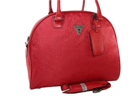 Guess G Logo Carry On Luggage Dome Travel Large Bag Satchel Tote Red Fen... - $98.99