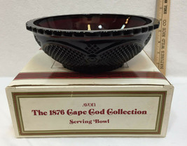 "Avon Cape Cod Glass Serving Bowl Ruby Red 8.5"" Vintage 1876 Series Box - $17.81"