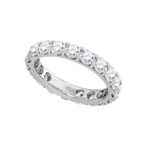 14k White Gold Round Diamond Comfort Band Wedding Anniversary Ring 3 Ctw - $4,874.40