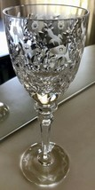 """Rogaska Gallia Cut Crystal Wine Glass 7 3/4"""" Floral Replacement - $42.06"""