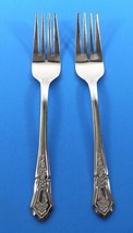 IMI27 IMPERIAL STAINLESS  2 SALAD FORKS-OUTLINE DIAMOND SHAPE POINT TOP ... - $9.99