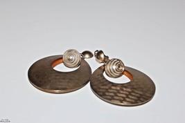 Vintage Gold tone Large Good Looking Hoop Ball Drop Dangle Clip-On Earrings - $19.79