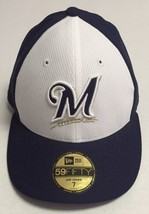 Milwaukee Brewers Fitted Hat Size 7 New Era Baseball Cap MLB Low Crown 59Fifty - $34.64
