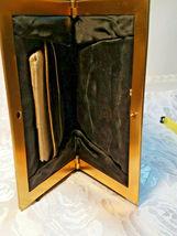 Vintage Black w/ Gold Square Design Evening Clutch Purse W/ Original Mirror image 6