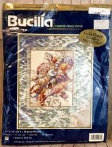 Vintage Bucilla TRANQUILITY Counted Cross Stitch Kit Seashells Ocean - $11.30
