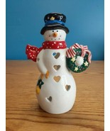 "Hallmark Ceramic Snowman Tea Light Votive Candle Holder Christmas 7"" Tall - $6.88"