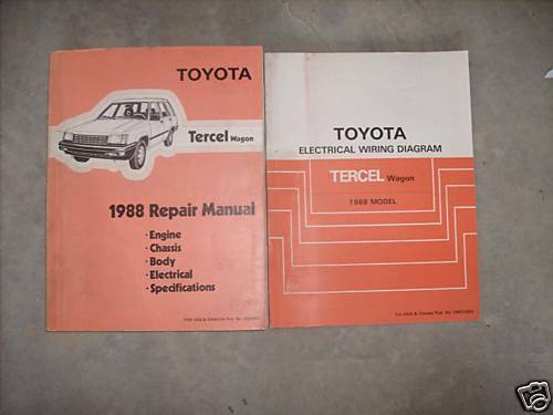 1988 Toyota Tercel Wagon Service Repair Shop Workshop Manual Set Wiring Diagram