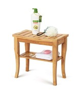 """OasisSpace Bamboo Shower Bench, 19"""" Waterproof Shower Chair with Storage... - $46.28"""