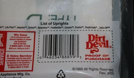 Dirt Devil Type D Vacuum Cleaner Bags Package contains 3 bags NIP New Upright image 5