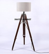 CLASSICAL DESIGNER TRIPOD FLOOR LAMP WITH TEAK WOOD STAND FOR LIVING ROOM BY NAU - $147.51