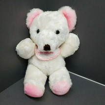Vintage Russ Berrie Plush Pink White My First teddy bear w/ bib baby chime  - $48.37