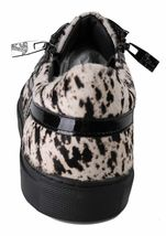 Versace Collection Black Pony Hair Patent Leather Lace Zip-Up Fashion Sneaker NW image 3