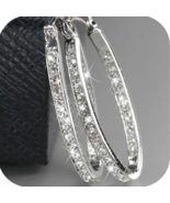 Boho 925 silver cubic zirconia wedding engagement hoop earrings party jewelry thumbtall