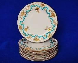 """Set 8 Enamel Gilt Flower Minton Dinner Luncheon Plates for D.B. Bedell 9"""" C1910 - $899.95"""