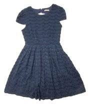 Miami Women's Dress Size Medium Fit Flare Lined Navy Blue Cap Sleeve - $17.34
