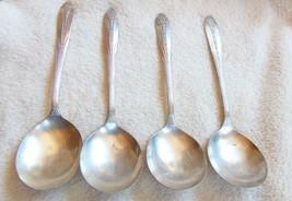 4 Vintage Princess Royal Silverplate Round Bowl Soup Spoons National Silver - $14.84