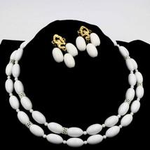 Vintage White Bead Double Multi-Strand Necklace Earrings Demi Set - $19.79