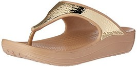 Crocs Women's Sloane Embellished Platform Flip (7|Gold/Metallic) - $50.77