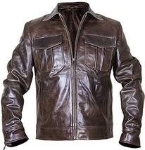 Vintage Motorcycle Copper Rub Off Classic Distressed Brown Biker Leather Jacket image 1