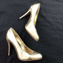 Steve Madden P Ronni Womens Gold Metalic Shiny Stiletto Heel Pumps 10 - $24.75