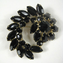 Brooch Rhinestones Unsigned Pin Black Spiral Vintage 1940 to 1960 - $39.59