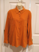 New in pkg casual corner annex long sleeve button front shirt jacket top PP - $13.36