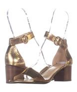 Michael Kors Ankle Strap Block Heel Sandals 137, Gold Snake, 6.5 US / 36... - $47.03