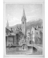 ITALY St. Michael Church at Brixen Torre Bianco - 1870s Original Engravi... - $30.22