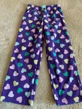 Carters Girls Purple Pink Teal Yellow Hearts Fleece Pajama Pants 6 - $5.48