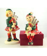 Vintage Lefton China Scottish lad lass figurines 3930 and 3931 ceramic  - $28.00