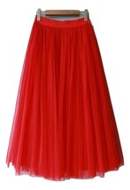RED Long Tulle skirt Women Red Tulle Long Maxi Skirt Red Wedding Party Skirts image 1