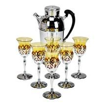 Art Deco Farber Krome Craft Amber Glass Cocktail Set - 7 Piece Set - $395.00