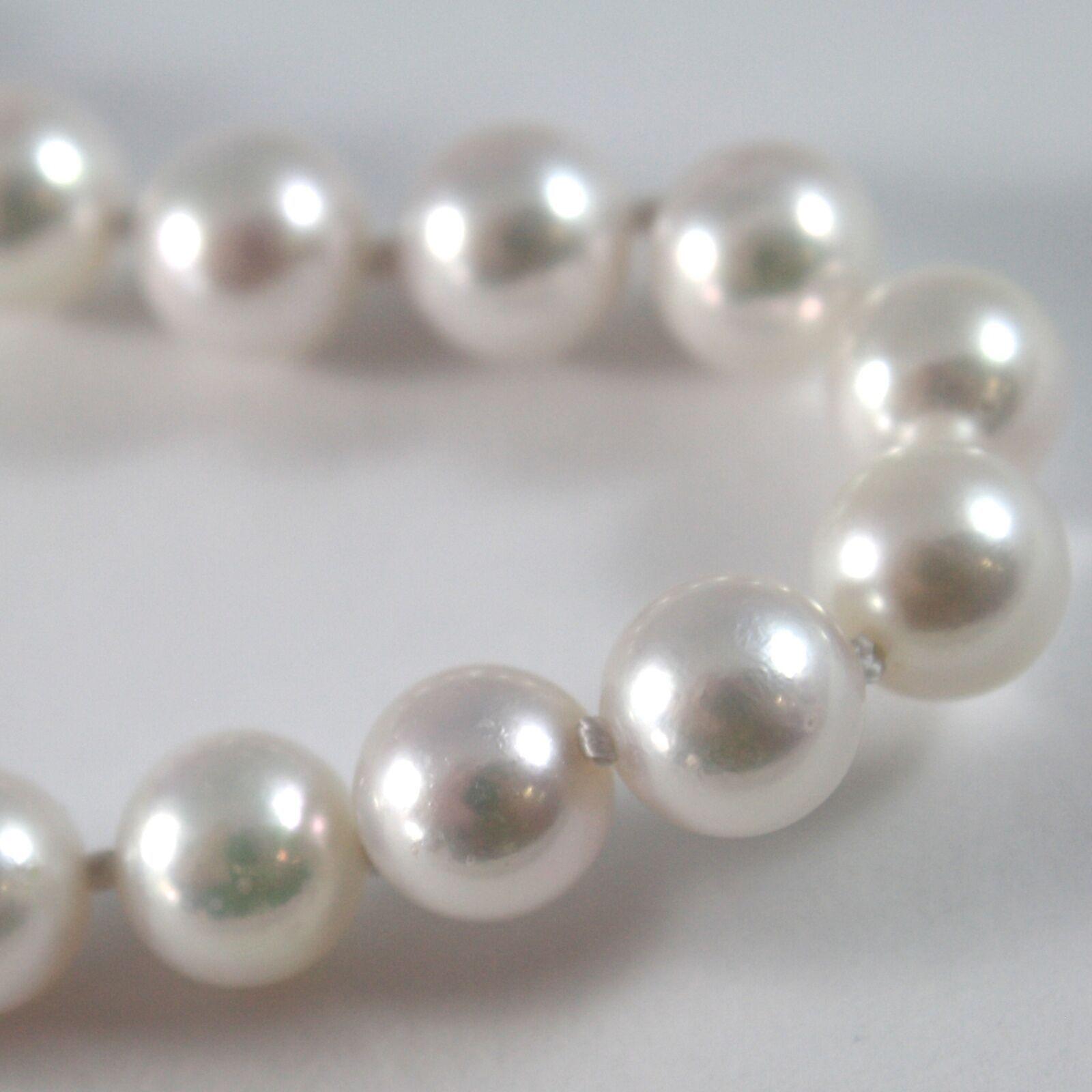 Armband Weißgold 750 18K, Strang Perlen Weiß Akoya Diam 8 mm, Lang 19 CM