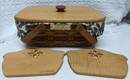 Longaberger 1996 Christmas Collection Holiday Cheer Basket Combo Liner L... - $56.09