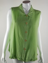 Focus Womens Medium Lime Green Button Up Tank Top Textured Cotton EUC US... - $6.79