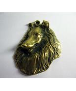 Collie Dog - bronze keychain, collie's head, decoration item, metal plate - $8.00