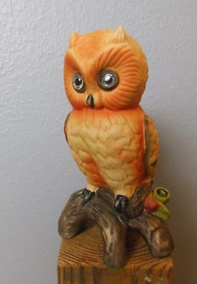 "Orange Hand Painted Ceramic Owl on Branch 7"" No ID image 1"
