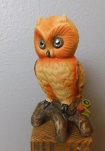 "Orange Hand Painted Ceramic Owl on Branch 7"" No ID - $18.00"