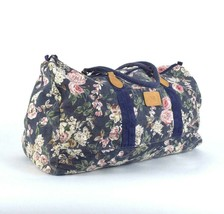 Vintage 1990s Quilted Blue Denim Canvas Tote Bag Duffle Luggage Carry On... - $24.74
