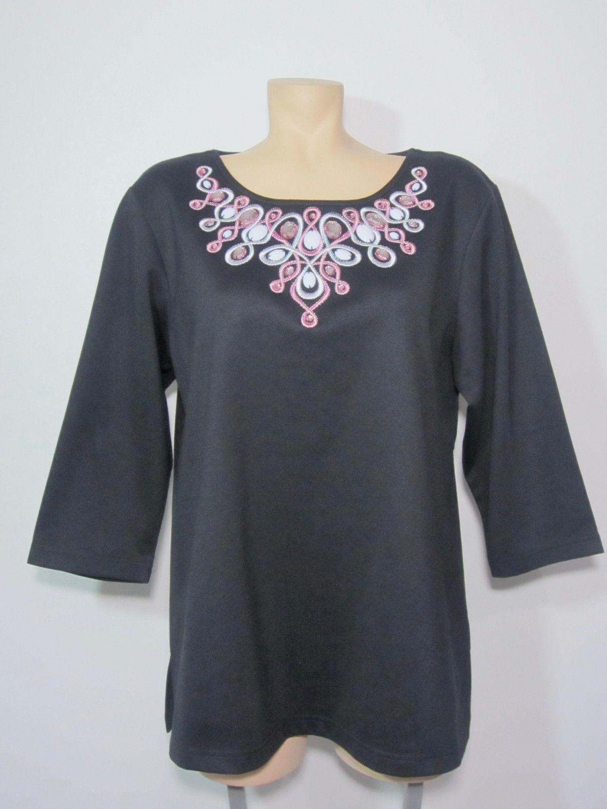 592b652ef7b5c0 ... Bob Mackie Wearable Art Women s Shirt Large Black Rhinestones  Embroidered ...