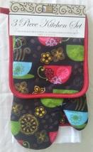 Kitchen Linen Set, 3-pc Potholder Mitt Towel, Coffee Decor, Cups Red Black
