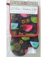 COFFEE THEME KITCHEN SET 3-pc Potholder Mitt Towel Colorful Cups Red Bla... - $11.99