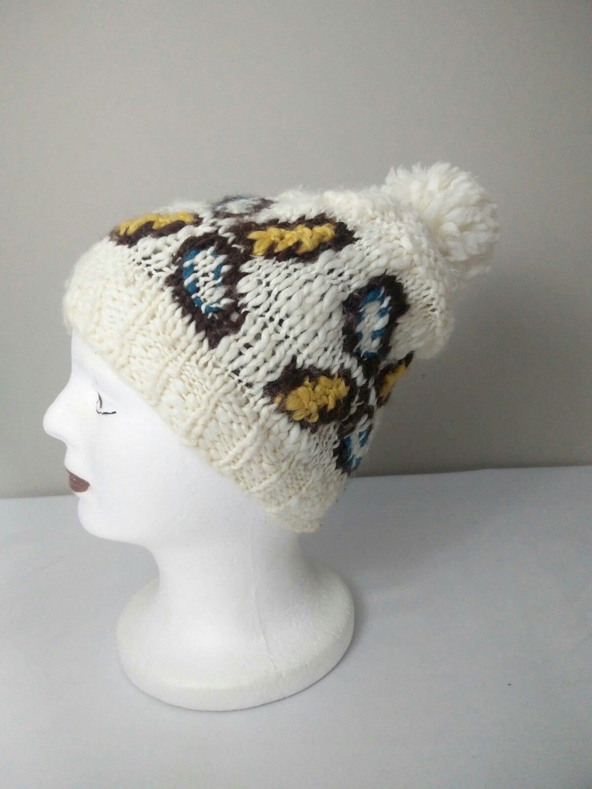 6c5197ff7d3 ... Roxy Womens Ivory Butterfly Pompom Winter Hat Beanie Chunky Knit Winter  Beanie ...