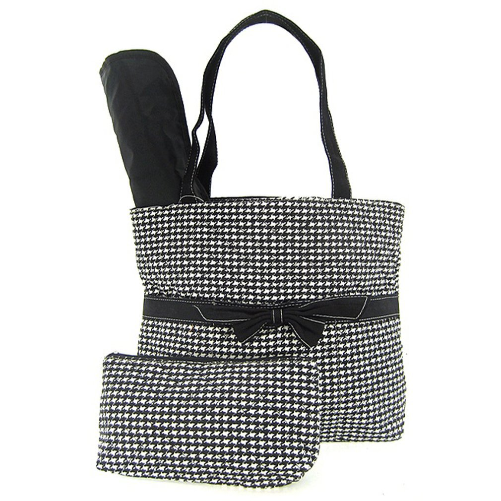Classic & Timeless! Black Houndstooth Diaper Bag 3 Piece Set Changing Pad & Cosm