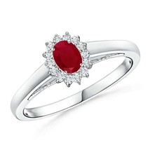 Princess Diana Inspired Ruby Ring with Diamond Halo Size 3-13 - $685.93+