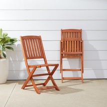 Outdoor Dining Chair Set of Two Brown Sturdy Wood Slatted Seat Folding V... - $110.17