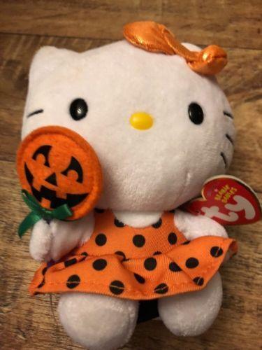 cd67b8300fb Ty Beanie Babies Hello Kitty Plush Toy Cat Kitten 5 7 8in Halloween Lantern