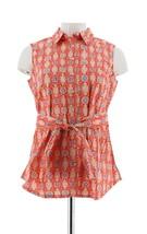Liz Claiborne NY Printed Tunic Tie Waist Red Multi 14 NEW A253208 - $25.72