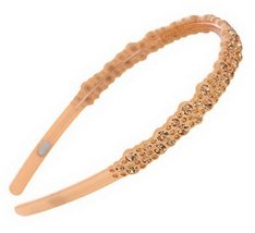 Wide Sideband Tooth Crystal Headband Soft Headbands Hairband Champagne PINK
