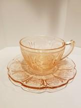 Vintage Jeanette Pink Cherry Blossom Depression Glass Tea Cup & Saucer - $12.95